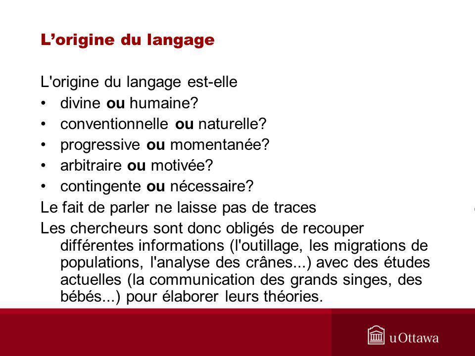 Lorigine du langage L origine du langage est-elle divine ou humaine.