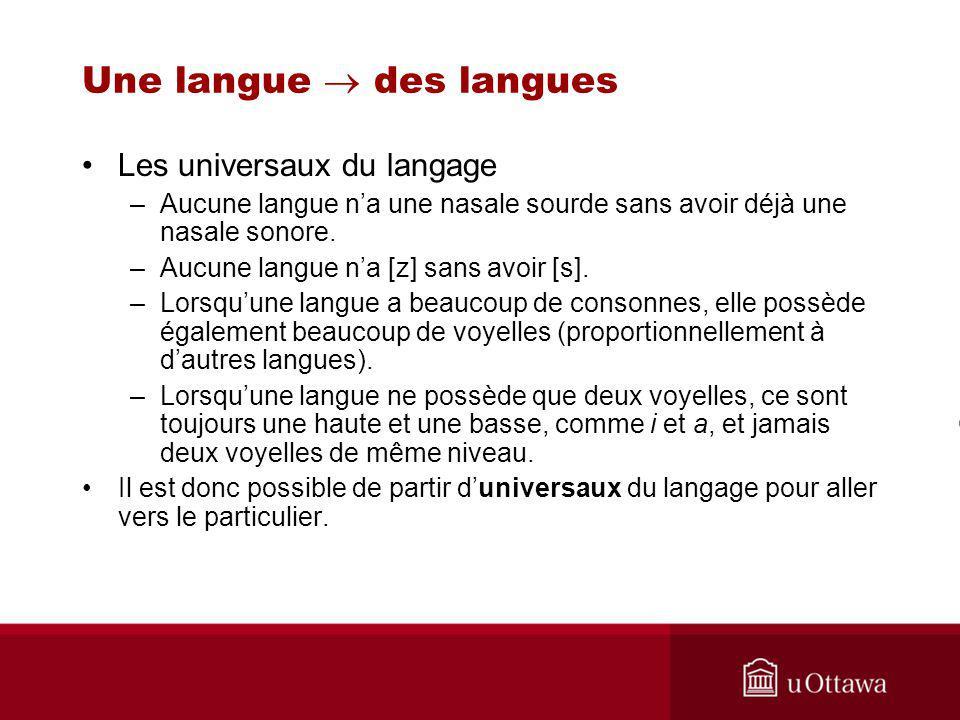 Les universaux du langage –Aucune langue na une nasale sourde sans avoir déjà une nasale sonore.