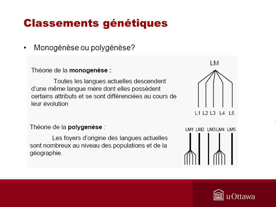 Classements génétiques Monogénèse ou polygénèse?