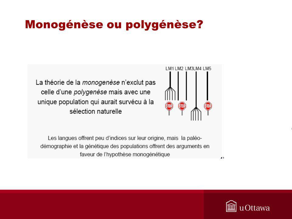 Monogénèse ou polygénèse?