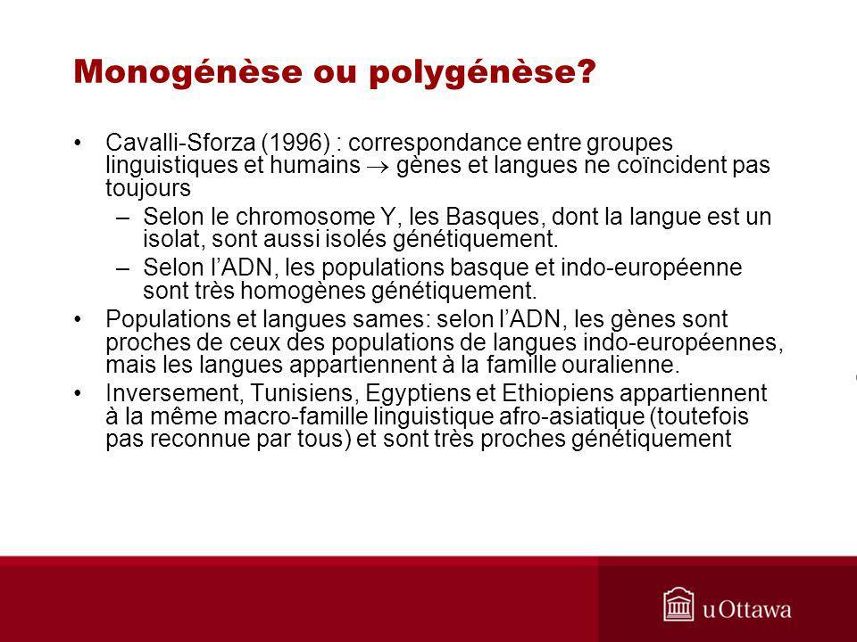 Cavalli-Sforza (1996) : correspondance entre groupes linguistiques et humains gènes et langues ne coïncident pas toujours –Selon le chromosome Y, les Basques, dont la langue est un isolat, sont aussi isolés génétiquement.