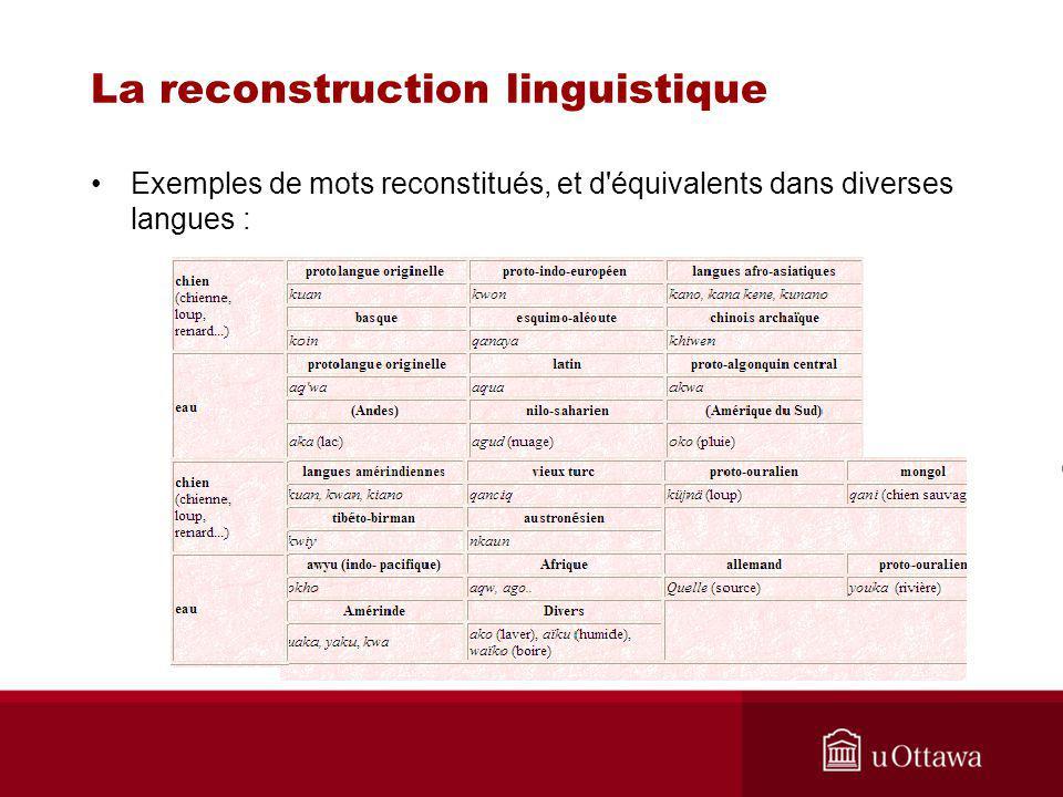 La reconstruction linguistique Exemples de mots reconstitués, et d équivalents dans diverses langues :