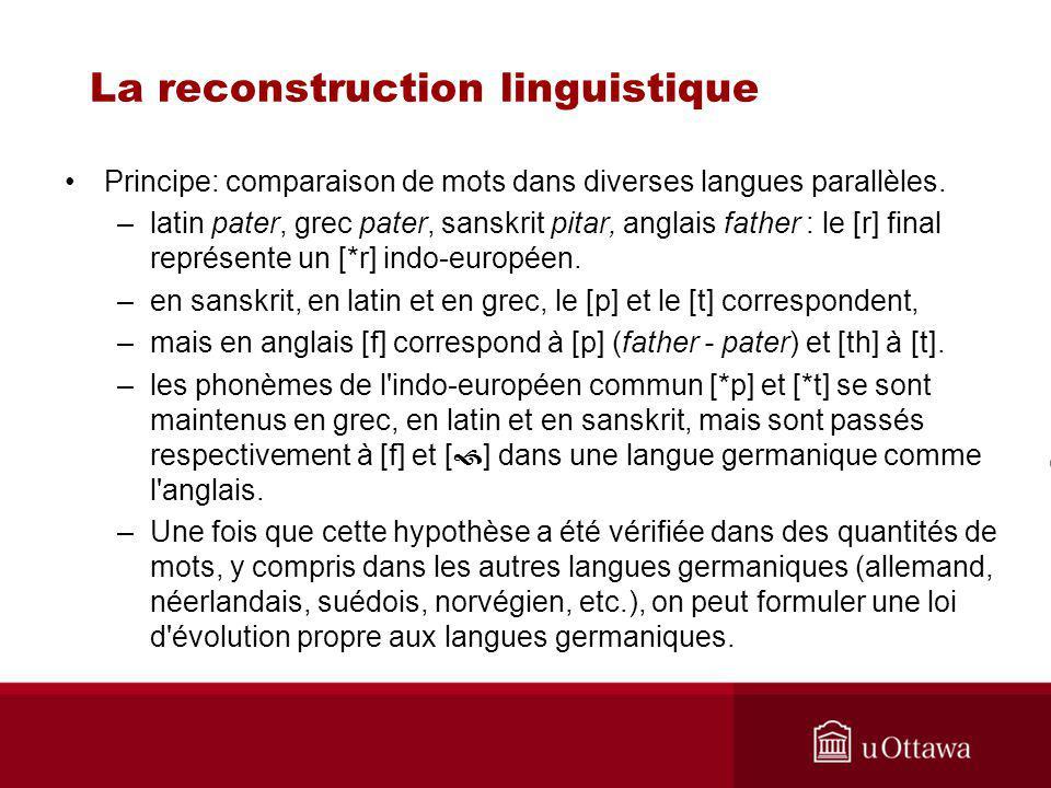 La reconstruction linguistique Principe: comparaison de mots dans diverses langues parallèles.