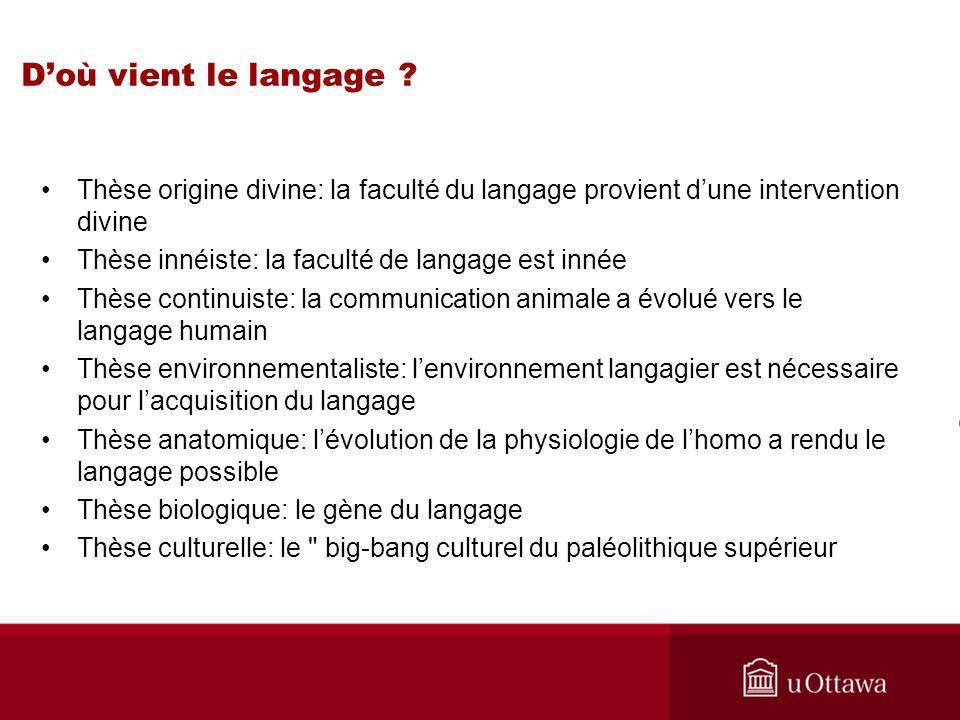 Doù vient le langage .