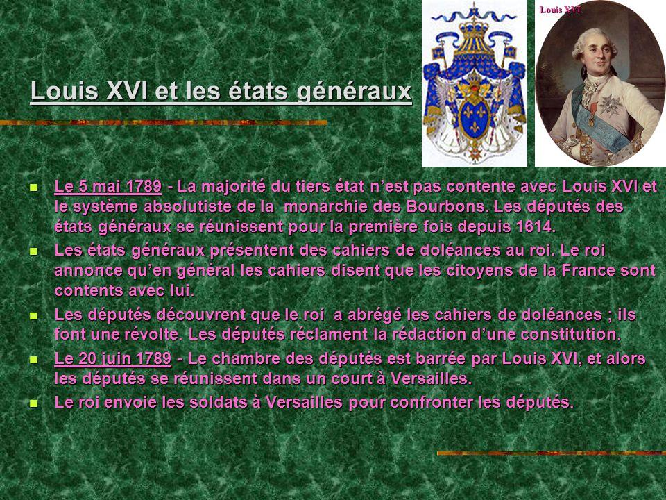 Louis XVI et les états généraux Louis XVI et les états généraux Le 5 mai 1789 - La majorité du tiers état nest pas contente avec Louis XVI et le système absolutiste de la monarchie des Bourbons.