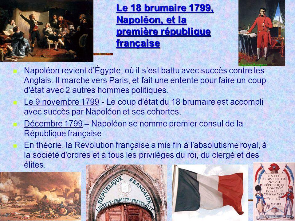 Le 18 brumaire 1799, Napoléon, et la première république française Napoléon revient dÉgypte, où il sest battu avec succès contre les Anglais.