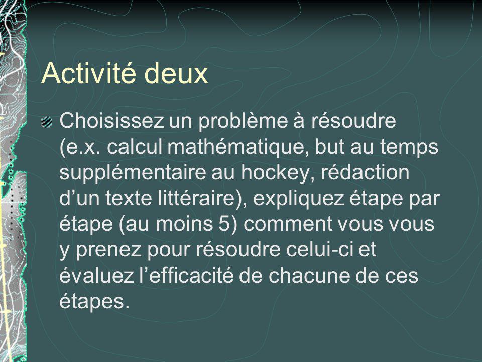 Activité deux Choisissez un problème à résoudre (e.x. calcul mathématique, but au temps supplémentaire au hockey, rédaction dun texte littéraire), exp