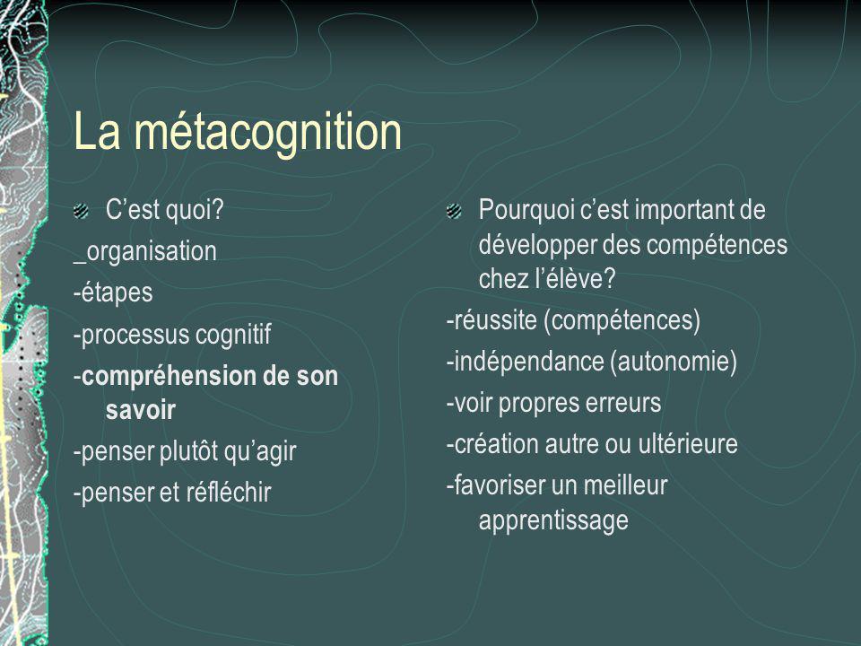 La métacognition Cest quoi? _organisation -étapes -processus cognitif - compréhension de son savoir -penser plutôt quagir -penser et réfléchir Pourquo