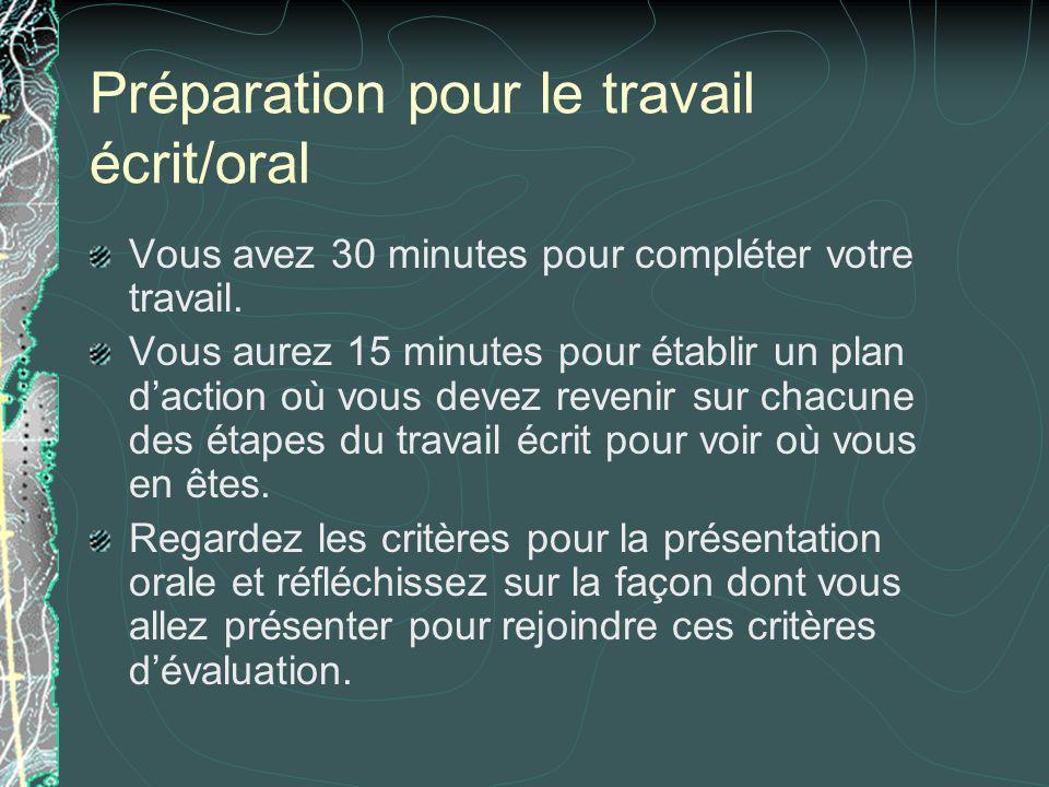 Préparation pour le travail écrit/oral Vous avez 30 minutes pour compléter votre travail. Vous aurez 15 minutes pour établir un plan daction où vous d