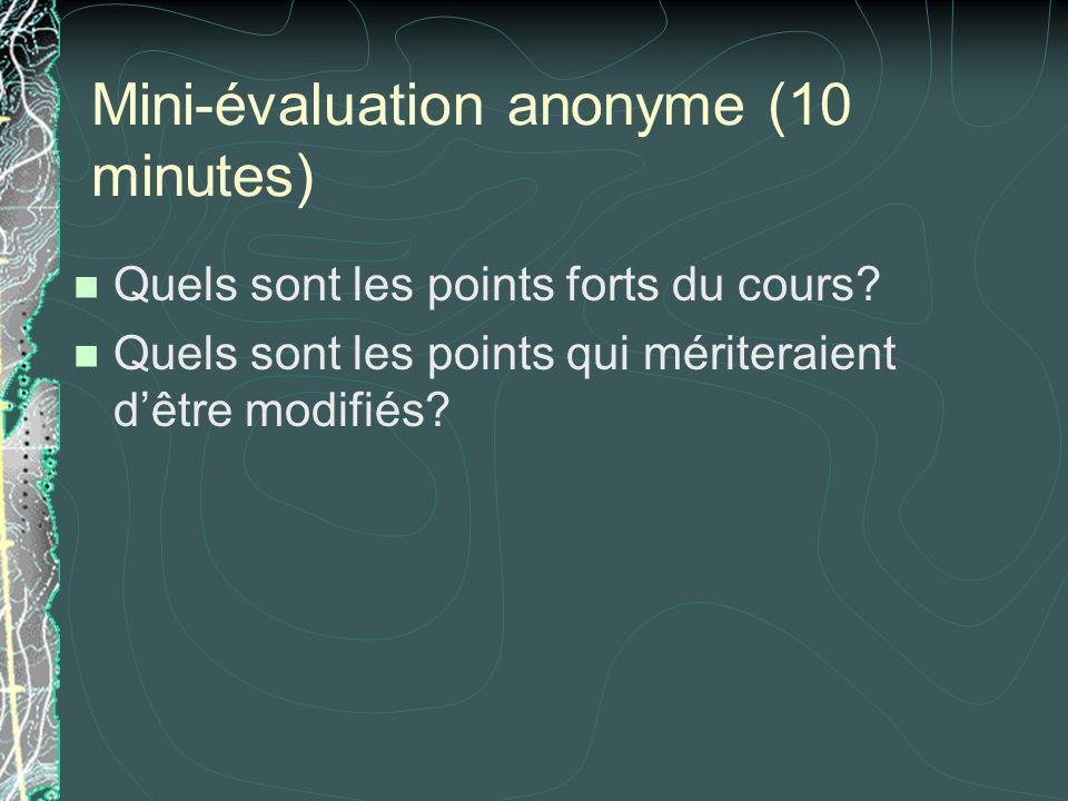 Mini-évaluation anonyme (10 minutes) Quels sont les points forts du cours? Quels sont les points qui mériteraient dêtre modifiés?