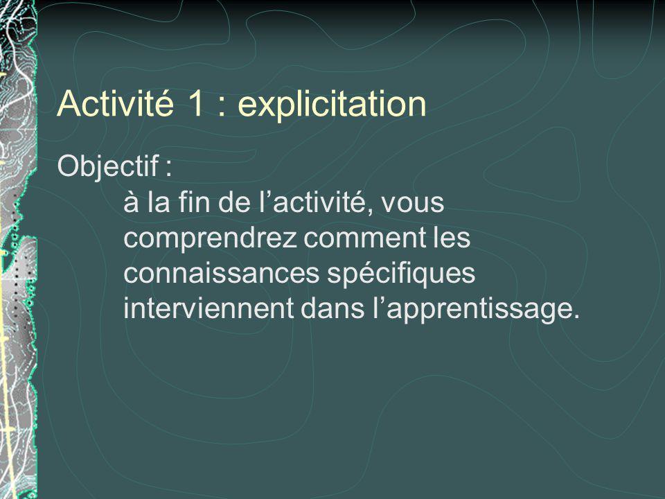 Activité 1 : explicitation Objectif : à la fin de lactivité, vous comprendrez comment les connaissances spécifiques interviennent dans lapprentissage.