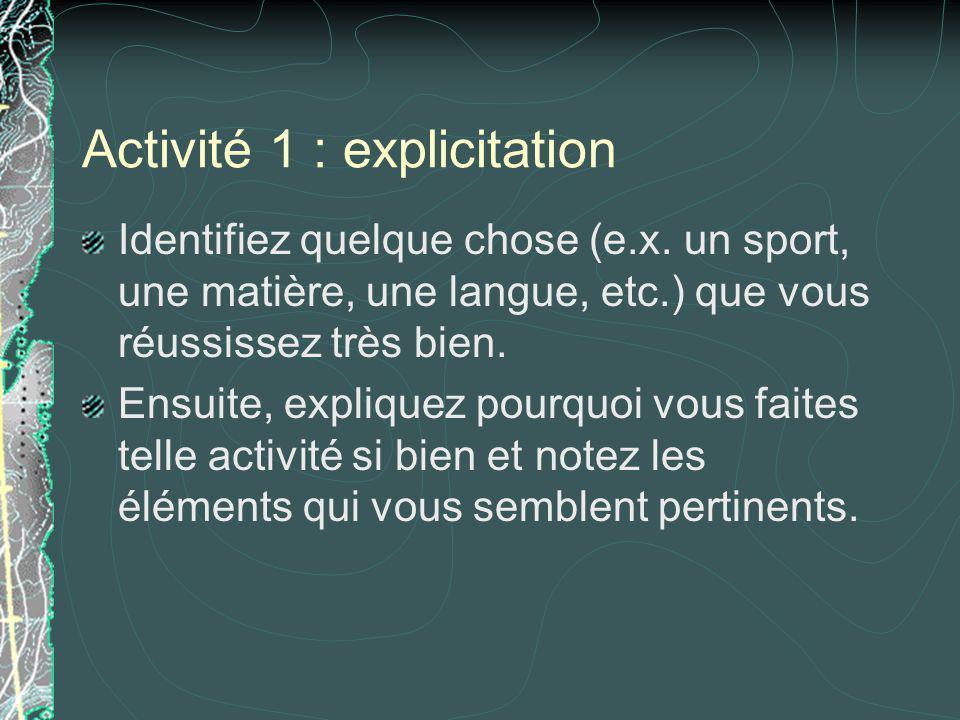 Activité 1 : explicitation Identifiez quelque chose (e.x. un sport, une matière, une langue, etc.) que vous réussissez très bien. Ensuite, expliquez p