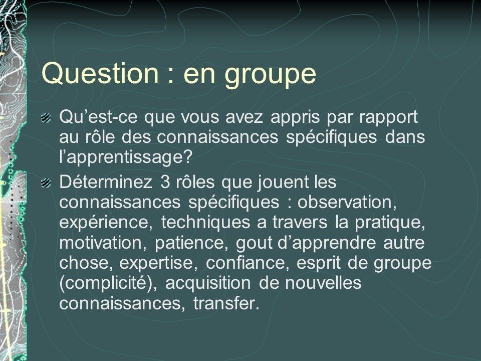 Question : en groupe Quest-ce que vous avez appris par rapport au rôle des connaissances spécifiques dans lapprentissage? Déterminez 3 rôles que jouen