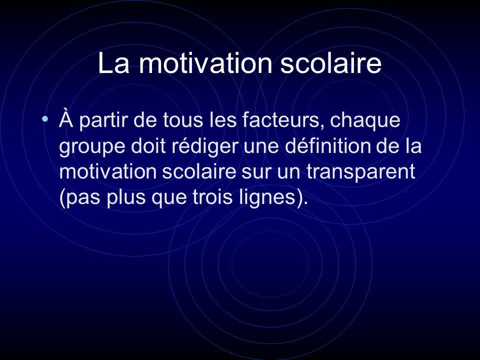 La motivation scolaire À partir de tous les facteurs, chaque groupe doit rédiger une définition de la motivation scolaire sur un transparent (pas plus