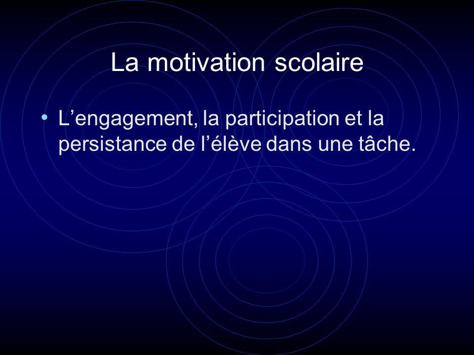La motivation scolaire Lengagement, la participation et la persistance de lélève dans une tâche.