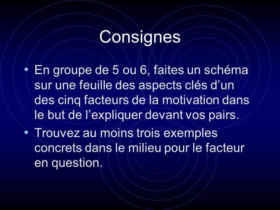 Consignes En groupe de 5 ou 6, faites un schéma sur une feuille des aspects clés dun des cinq facteurs de la motivation dans le but de lexpliquer devant vos pairs.