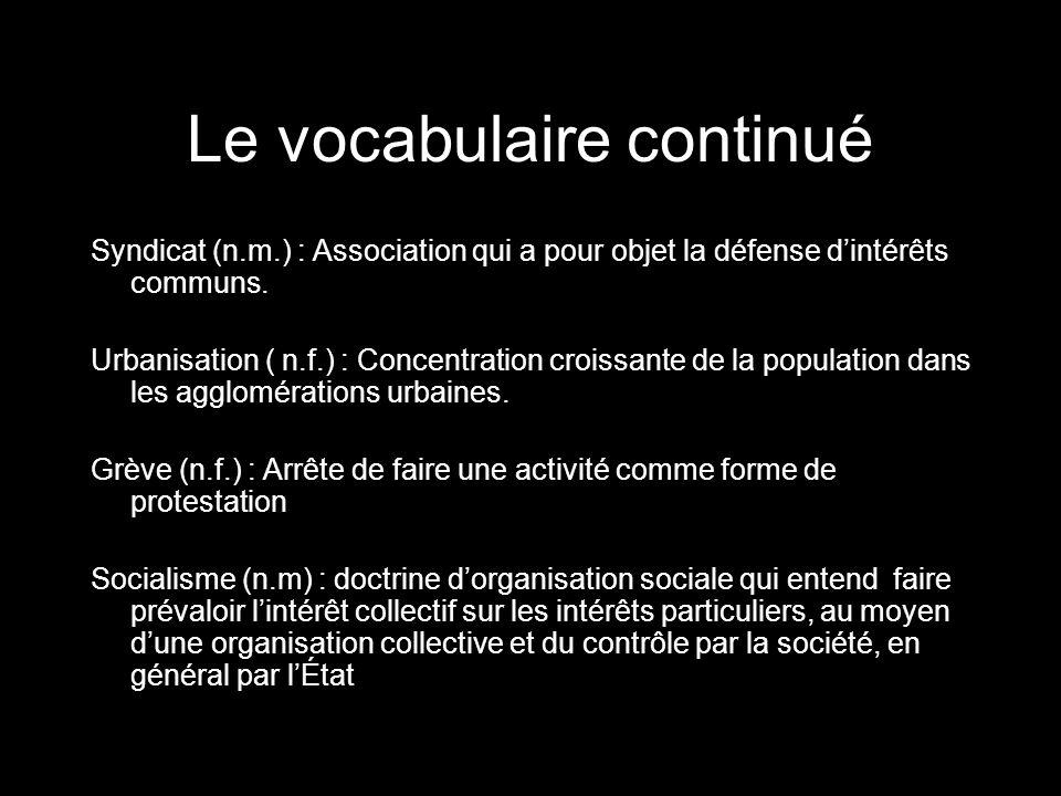 Le vocabulaire continué Syndicat (n.m.) : Association qui a pour objet la défense dintérêts communs. Urbanisation ( n.f.) : Concentration croissante d