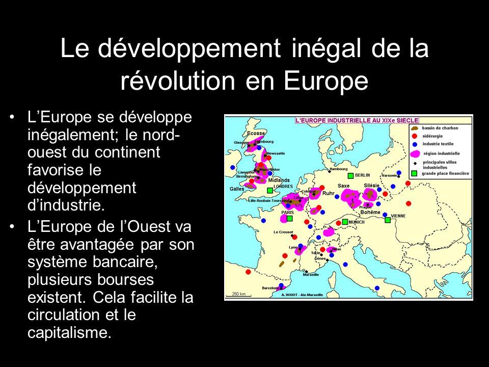 Le développement inégal de la révolution en Europe LEurope se développe inégalement; le nord- ouest du continent favorise le développement dindustrie.