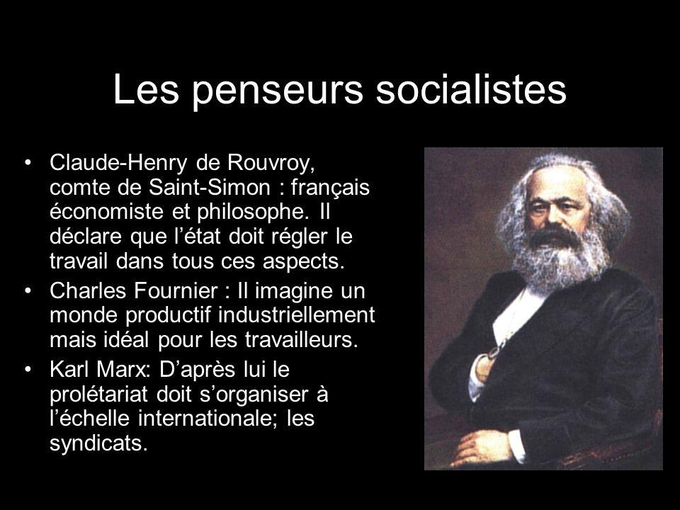 Les penseurs socialistes Claude-Henry de Rouvroy, comte de Saint-Simon : français économiste et philosophe. Il déclare que létat doit régler le travai