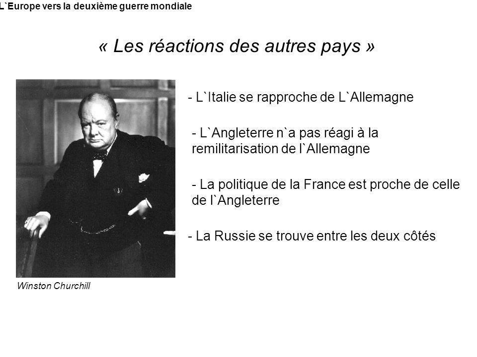 L`Europe vers la deuxième guerre mondiale « Les réactions des autres pays » Winston Churchill - L`Italie se rapproche de L`Allemagne - L`Angleterre n`