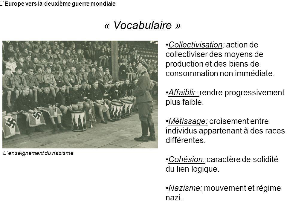 L`Europe vers la deuxième guerre mondiale « Vocabulaire » L`enseignement du nazisme Collectivisation: action de collectiviser des moyens de production