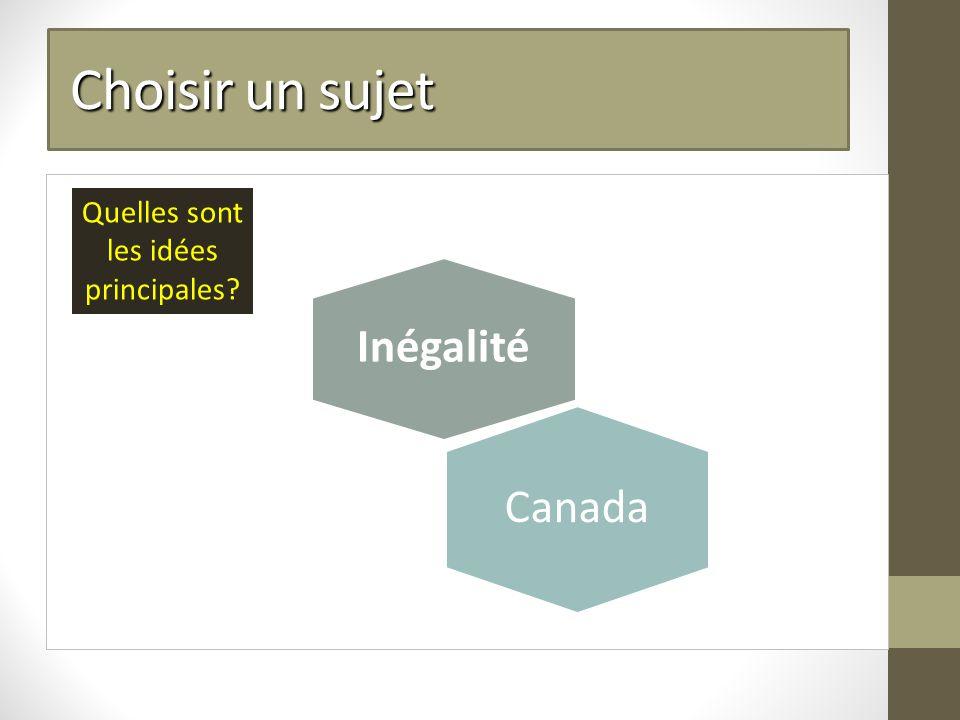 Choisir un sujet Choisir un sujet Inégalité Quelles sont les idées principales Canada