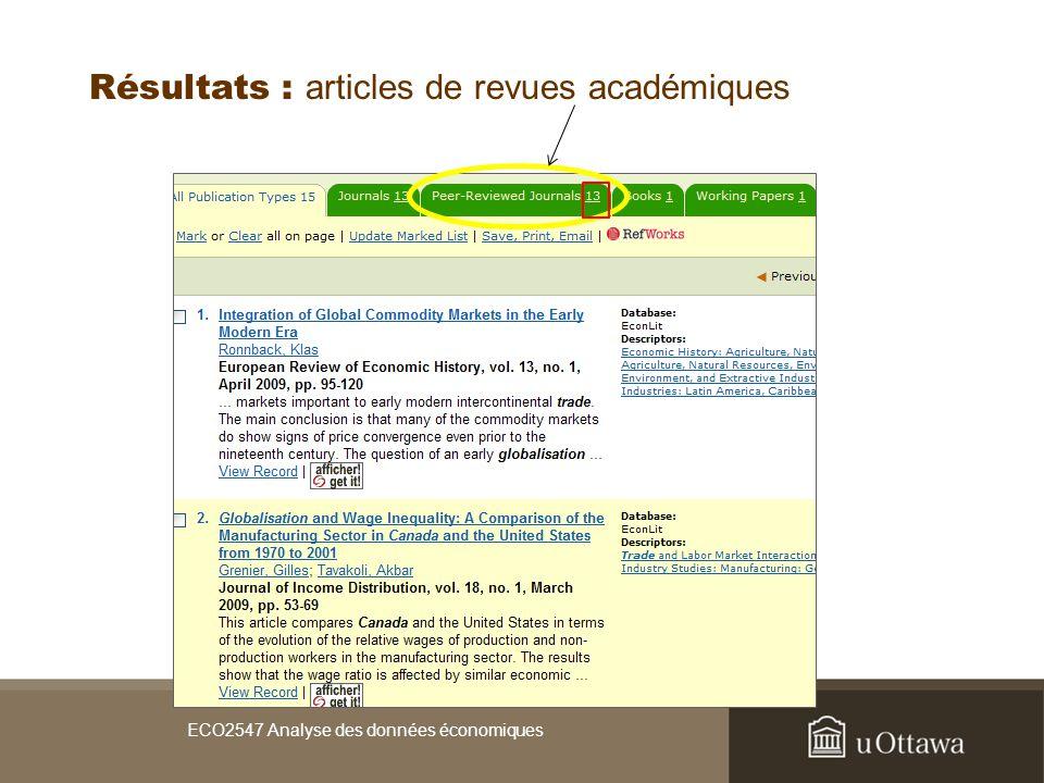 Résultats : articles de revues académiques