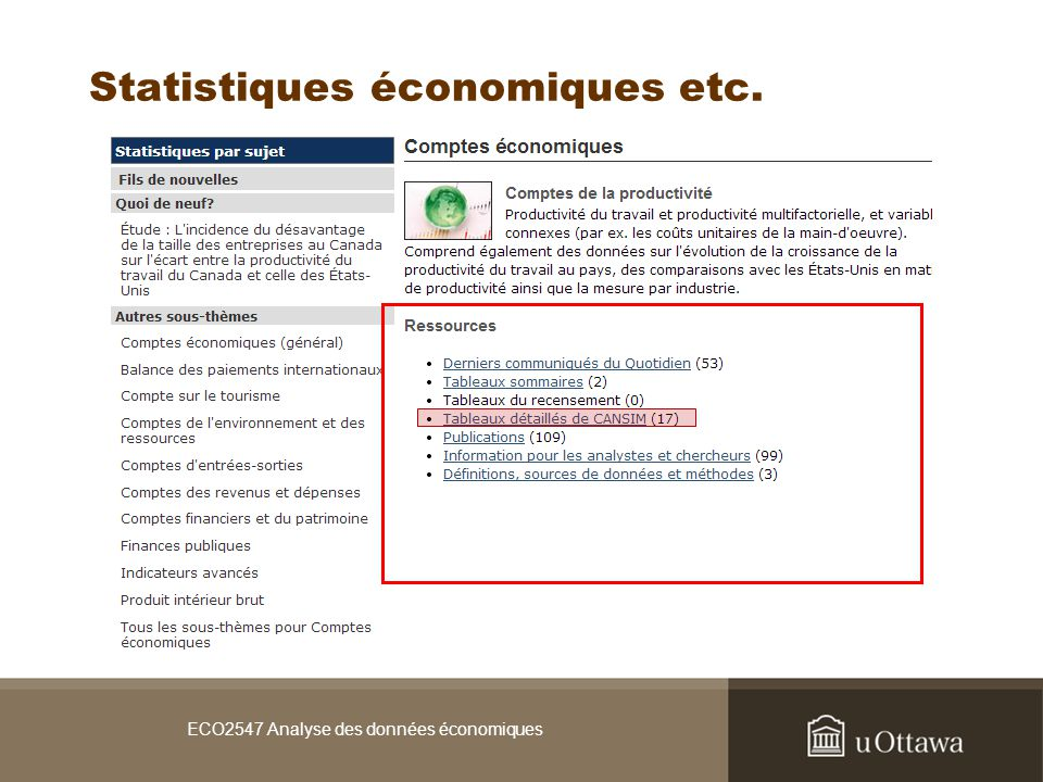 ECO2547 Analyse des données économiques Statistiques économiques etc.