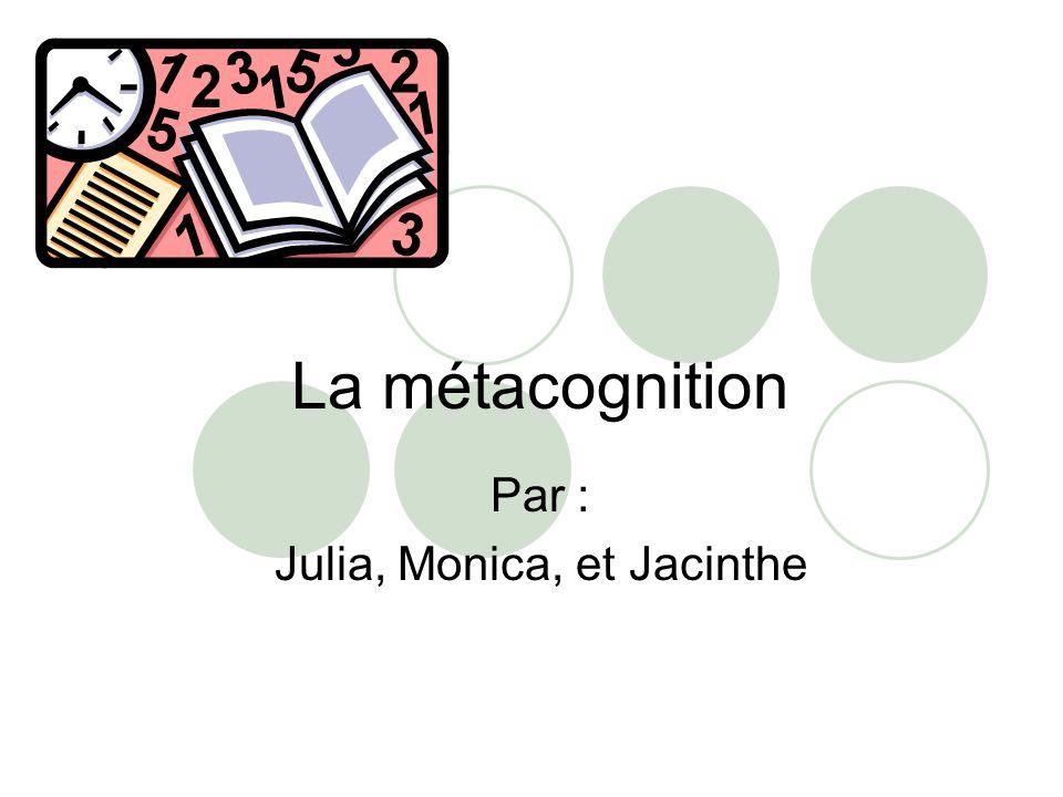 La métacognition Par : Julia, Monica, et Jacinthe