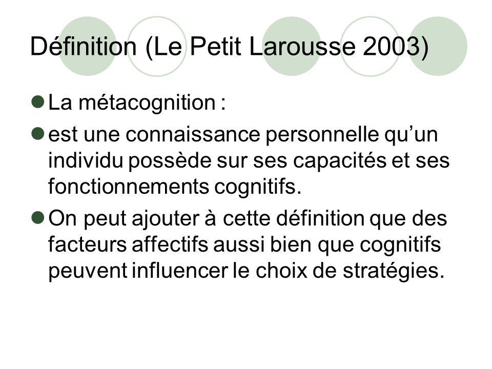 Définition (Le Petit Larousse 2003) La métacognition : est une connaissance personnelle quun individu possède sur ses capacités et ses fonctionnements