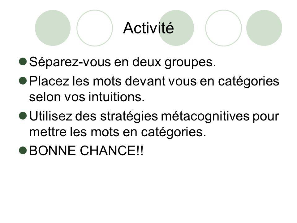 Activité Séparez-vous en deux groupes. Placez les mots devant vous en catégories selon vos intuitions. Utilisez des stratégies métacognitives pour met