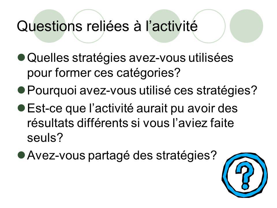 Questions reliées à lactivité Quelles stratégies avez-vous utilisées pour former ces catégories? Pourquoi avez-vous utilisé ces stratégies? Est-ce que
