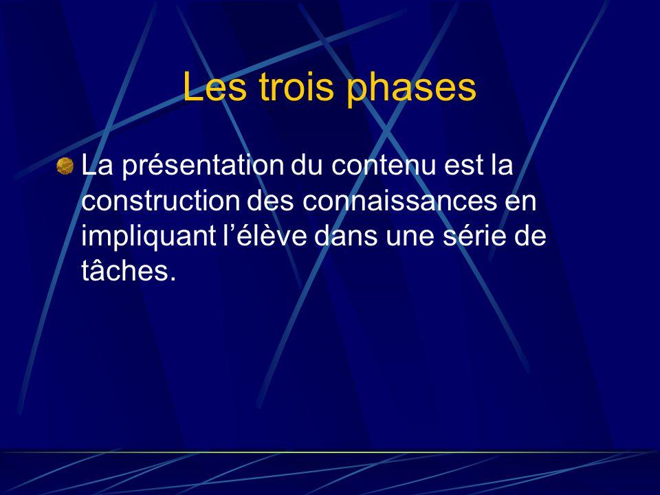 Les trois phases La présentation du contenu est la construction des connaissances en impliquant lélève dans une série de tâches.