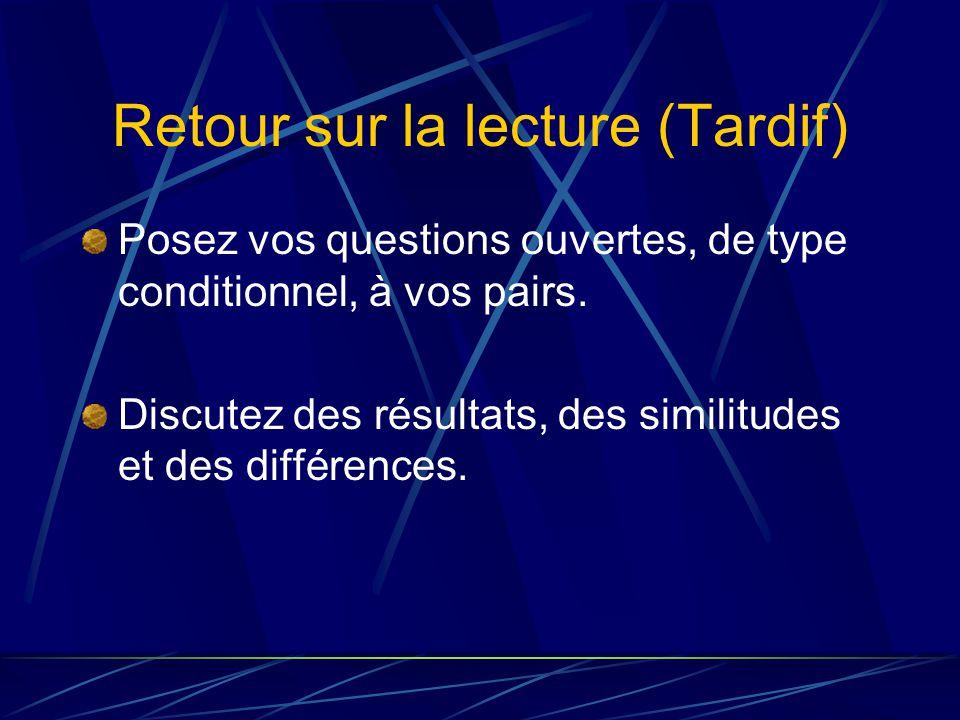 Retour sur la lecture (Tardif) Posez vos questions ouvertes, de type conditionnel, à vos pairs.