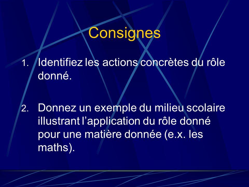 Consignes 1. Identifiez les actions concrètes du rôle donné.