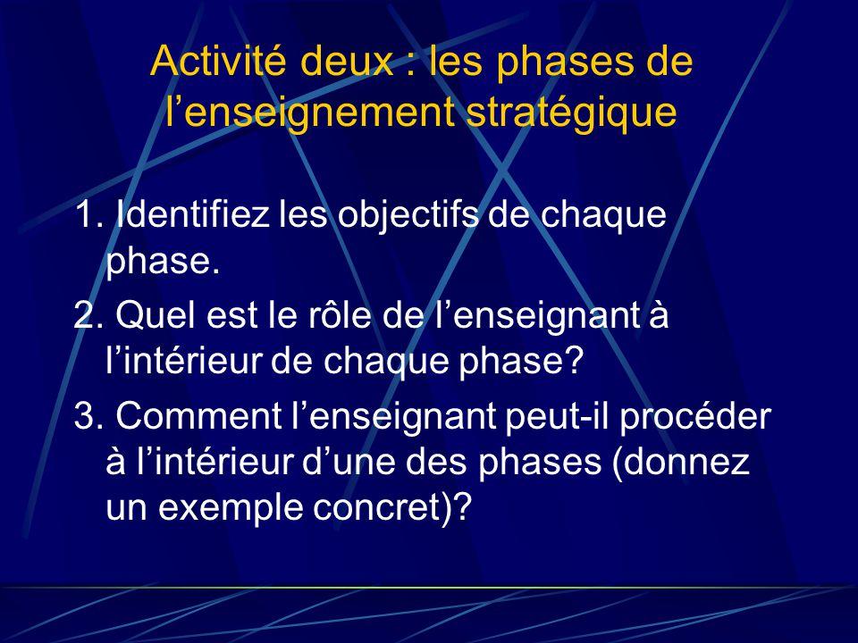 Activité deux : les phases de lenseignement stratégique 1.