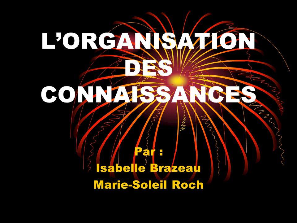LORGANISATION DES CONNAISSANCES Par : Isabelle Brazeau Marie-Soleil Roch