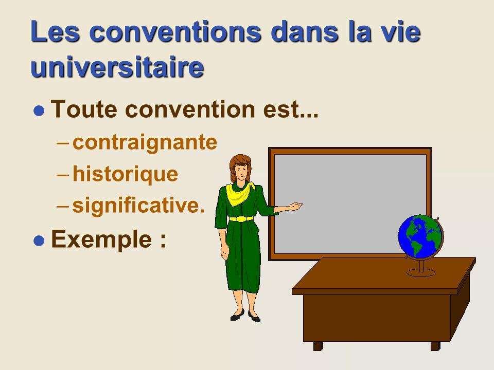 Les conventions dans la vie universitaire l Toute convention est... –contraignante –historique –significative. l Exemple : l Toute convention est... –
