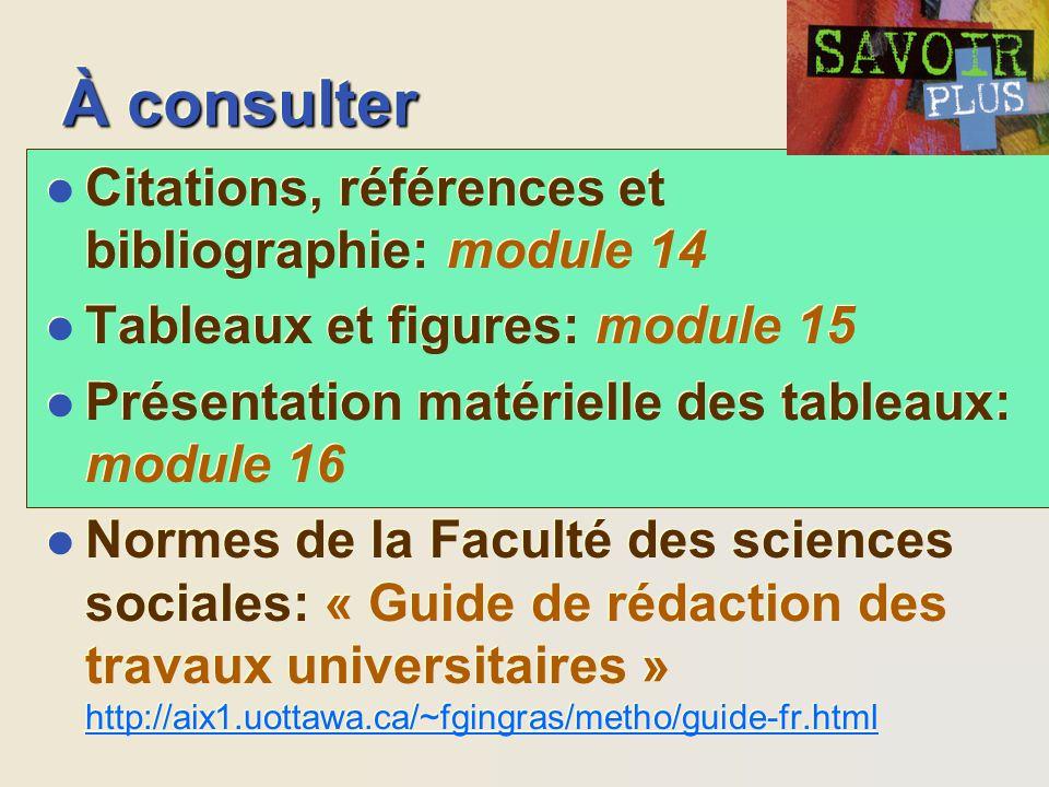 À consulter l Citations, références et bibliographie: module 14 l Tableaux et figures: module 15 l Présentation matérielle des tableaux: module 16 l N