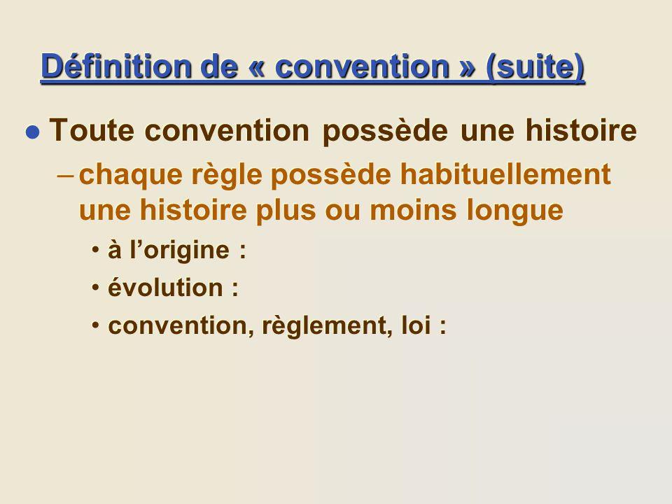 Définition de « convention » (suite) l Toute convention possède une histoire –chaque règle possède habituellement une histoire plus ou moins longue à