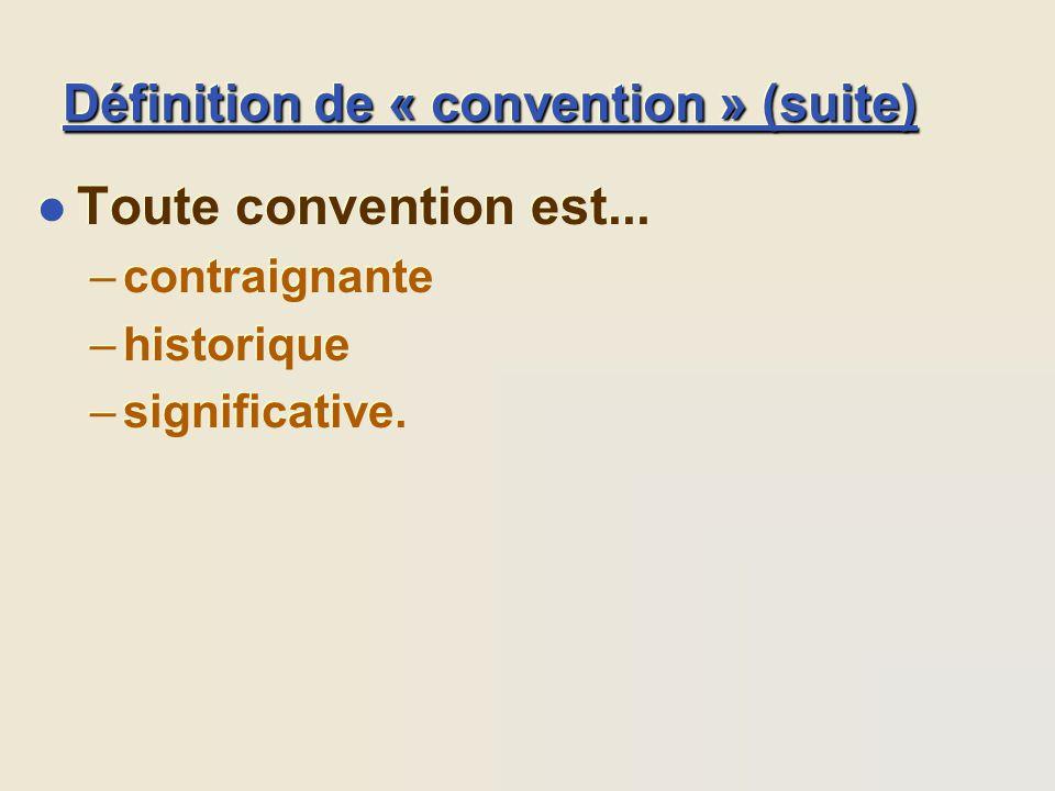Définition de « convention » (suite) l Toute convention est... –contraignante –historique –significative. l Toute convention est... –contraignante –hi