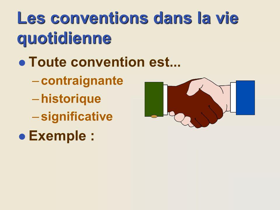 Les conventions dans la vie quotidienne l Toute convention est... –contraignante –historique –significative l Exemple : l Toute convention est... –con