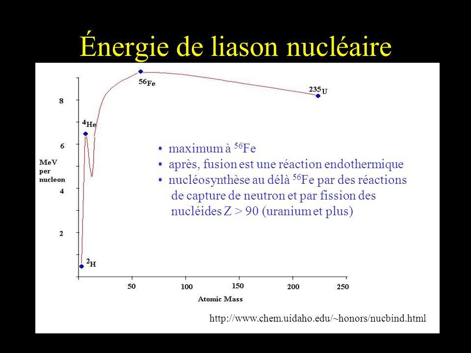 Énergie de liason nucléaire maximum à 56 Fe après, fusion est une réaction endothermique nucléosynthèse au délà 56 Fe par des réactions de capture de