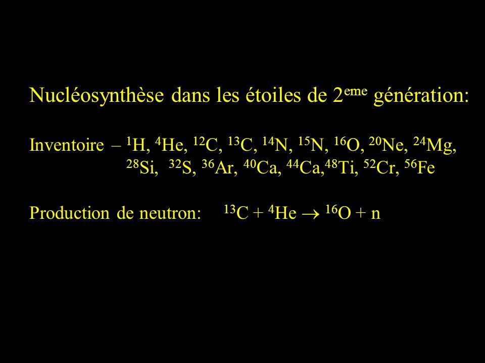 Nucléosynthèse dans les étoiles de 2 eme génération: Inventoire – 1 H, 4 He, 12 C, 13 C, 14 N, 15 N, 16 O, 20 Ne, 24 Mg, 28 Si, 32 S, 36 Ar, 40 Ca, 44
