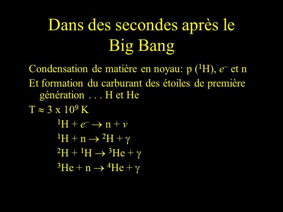 Dans des secondes après le Big Bang Condensation de matière en noyau: p ( 1 H), e – et n Et formation du carburant des étoiles de première génération.