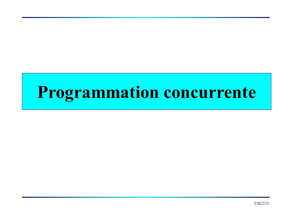 CSI2520 Programmation concurrente Un programme concurrent est un programme contenant plusieurs processus ou plusieurs fils dexecution –Un processus est généralement définit comme une entité sécutant de facon indépendante et contrôlant sa proper mémoire –Un fil (thread ou light-weight process) est une instance sexécutant dans un processus.