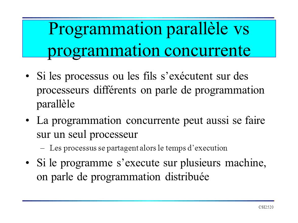Mutex en Go CSI2520 package main import fmt import time // MUTEX // verouiller func (s semaphore) Lock() { s.acquiere(1) } // deverouiller func (s semaphore) Unlock() { s.libere(1) } // attendre func (s semaphore) Wait(n int) { s.acquiere(n) } // signaler func (s semaphore) Signal() { s.libere(1) }