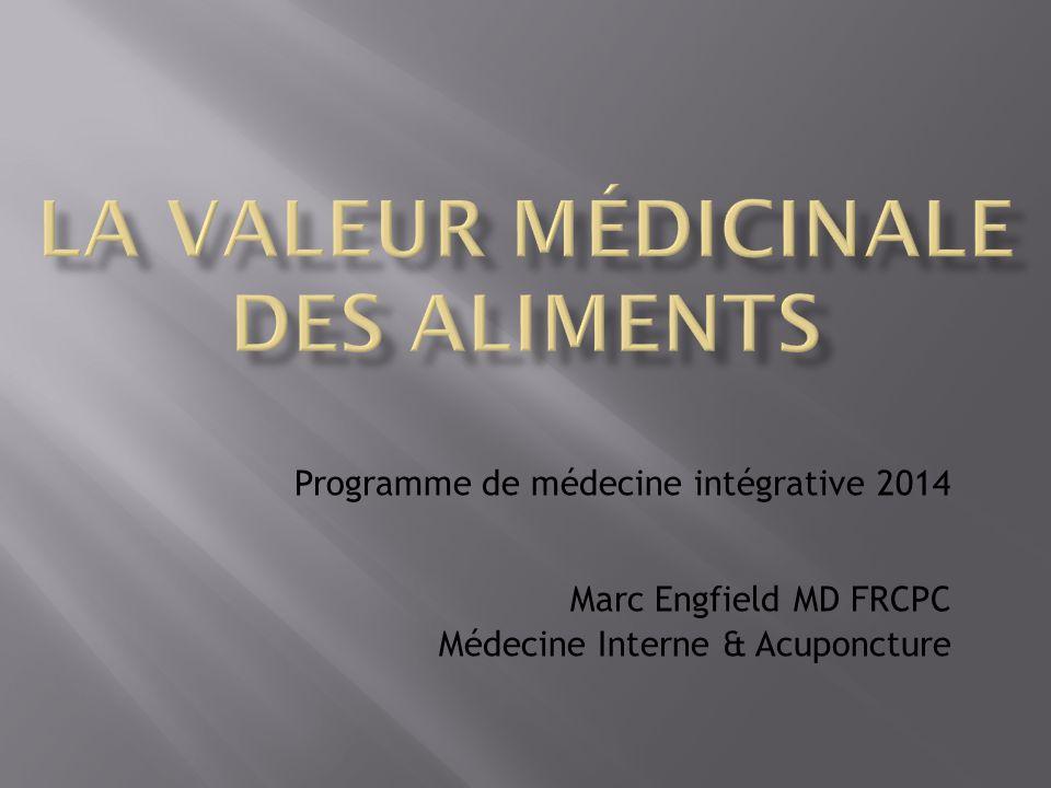 Programme de médecine intégrative 2014 Marc Engfield MD FRCPC Médecine Interne & Acuponcture