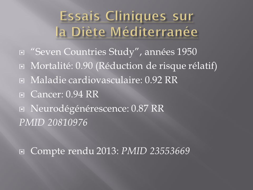 Seven Countries Study, années 1950 Mortalité: 0.90 (Réduction de risque rélatif) Maladie cardiovasculaire: 0.92 RR Cancer: 0.94 RR Neurodégénérescence