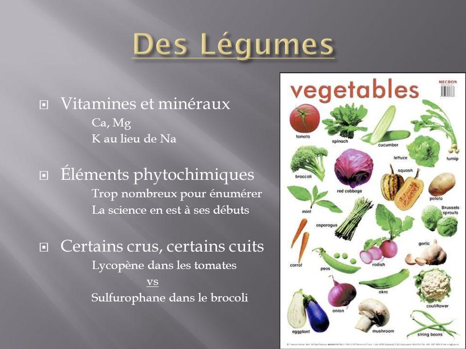 Vitamines et minéraux Ca, Mg K au lieu de Na Éléments phytochimiques Trop nombreux pour énumérer La science en est à ses débuts Certains crus, certain
